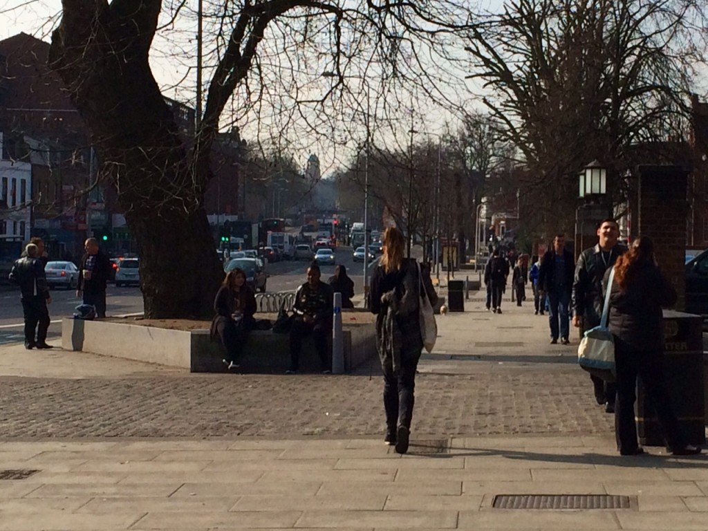 Here's how busy the current shared space is - even busier when students are arriving and leaving College of North East London. The large tree planter CANNOT be removed or reduced so all pedestrians and cyclists using CS1's proposed route will be funnelled to the right of this tree, where everyone is walking.