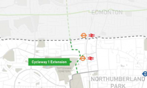 Map of the proposed CS1 extension (from Haringey's bid documents)